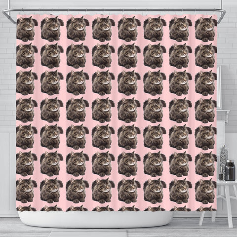 Maine Coon Cat Pattern Print Shower Curtains-Free Shipping