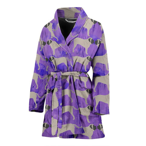 English Mastiff Dog Pattern Print Women's Bath Robe-Free Shipping
