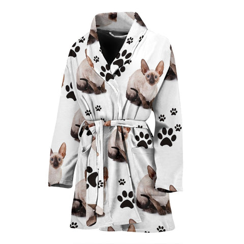 Cornish Rex Cat Print Women's Bath Robe-Free Shipping