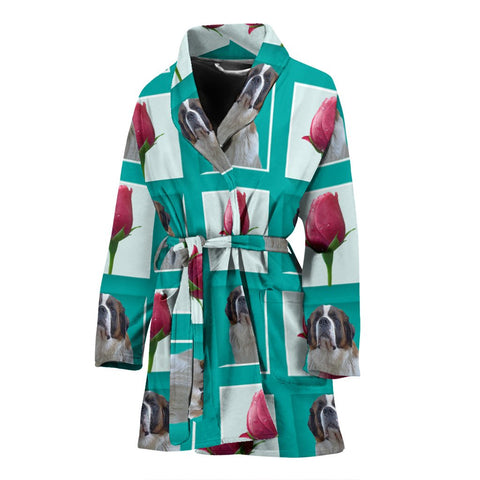 Saint Bernard Dog With Rose Patterns Print Women's Bath Robe-Free Shipping