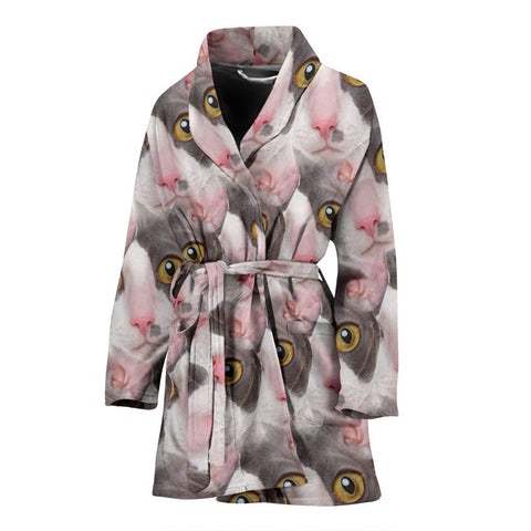 Cornish Rex Cat Face Print Women's Bath Robe-Free Shipping