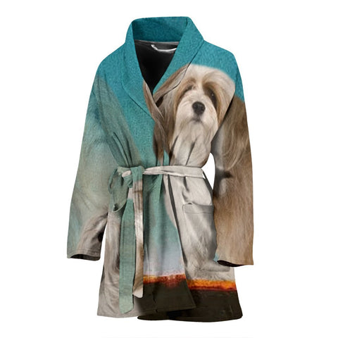 Cute Lhasa Apso Dog Print Women's Bath Robe-Free Shipping