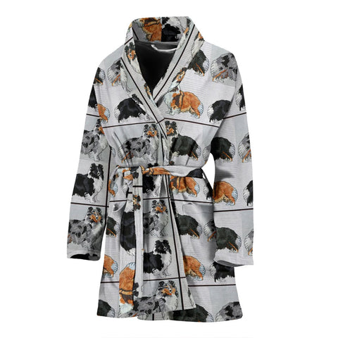 Shetland Sheepdog Art Pattern Print Women's Bath Robe-Free Shipping