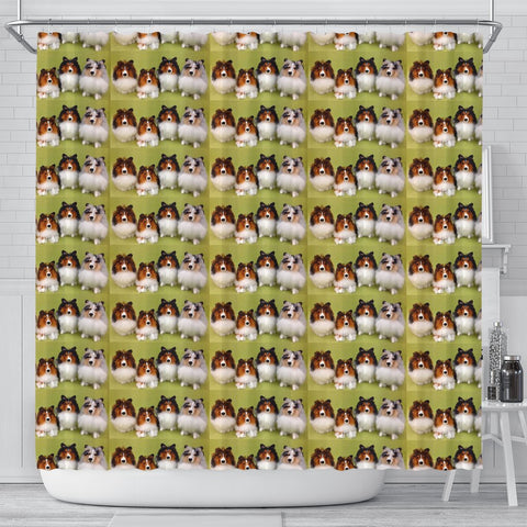 Shetland Sheepdog Pattern Print Shower Curtains-Free Shipping