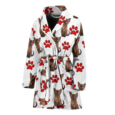Burmese Cat With Paws Print Women's Bath Robe-Free Shipping