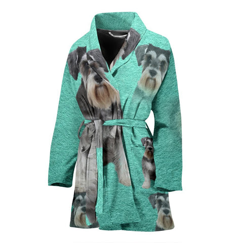 Miniature Schnauzer Dog Art Print Women's Bath Robe-Free Shipping