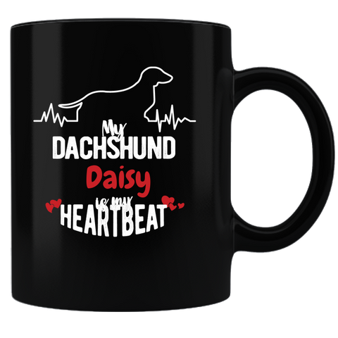 My Dachshund Heartbeat Personalized Coffee Mug - Black