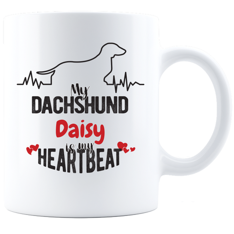 My Dachshund is my Heartbeat Personalized Coffee Mug - White