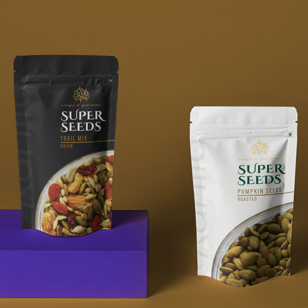 Karma Foods Combo- Roasted Pumpkin Seeds (100g) and Orion Trail Mix (100g) - Karma Foods