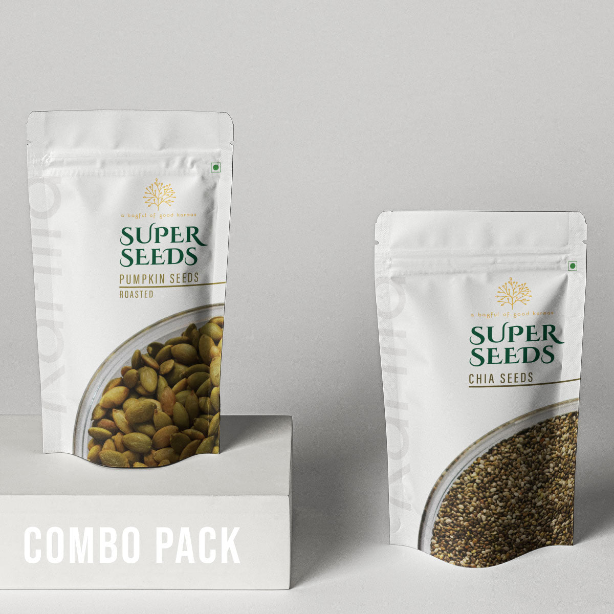 Karma Foods Combo- Roasted Pumpkin Seeds (100g) and Chia Seeds (150g) - Karma Foods