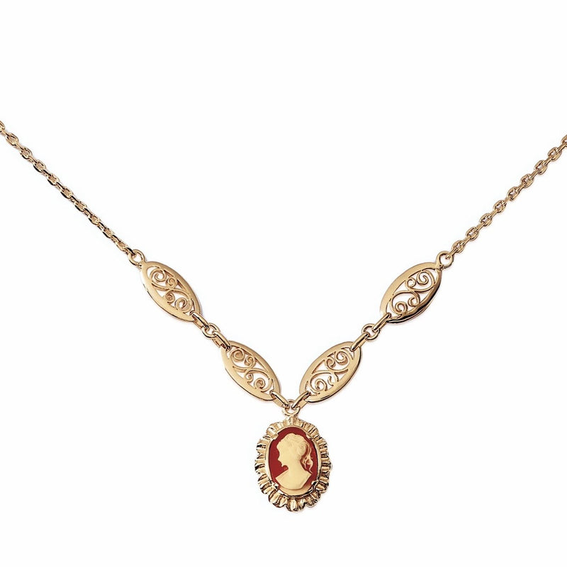 RED CAMEO PENDANT NECKLACE