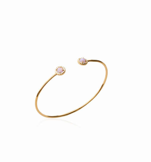 KAYLA OPEN GOLD CUFF WITH OPAL STONES