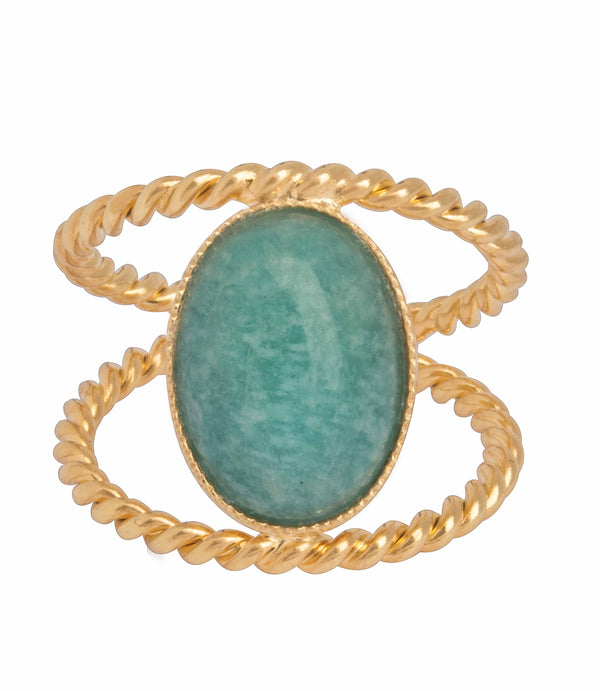 AMAZONITE DOUBLE TWISTED RING