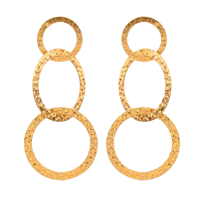HAMMERED TRIPLE HOOP EARRINGS