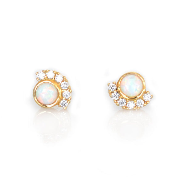 Puces d'oreille opale diamants sunset