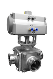 Tri-Clamp® 3-Way L type ball valve with pneumatic actuator