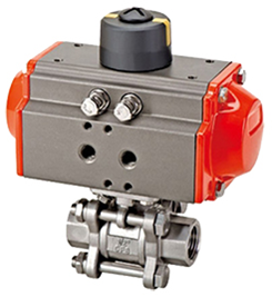 Tri-clamp 3-Piece ball valve (Encapsulated seals) Pneumatic Actuated