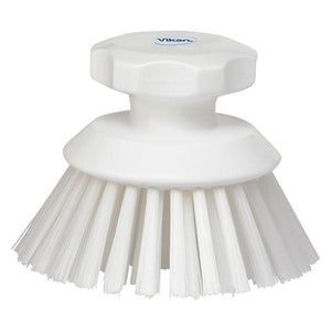 Round Scrub Brush- Stiff, White
