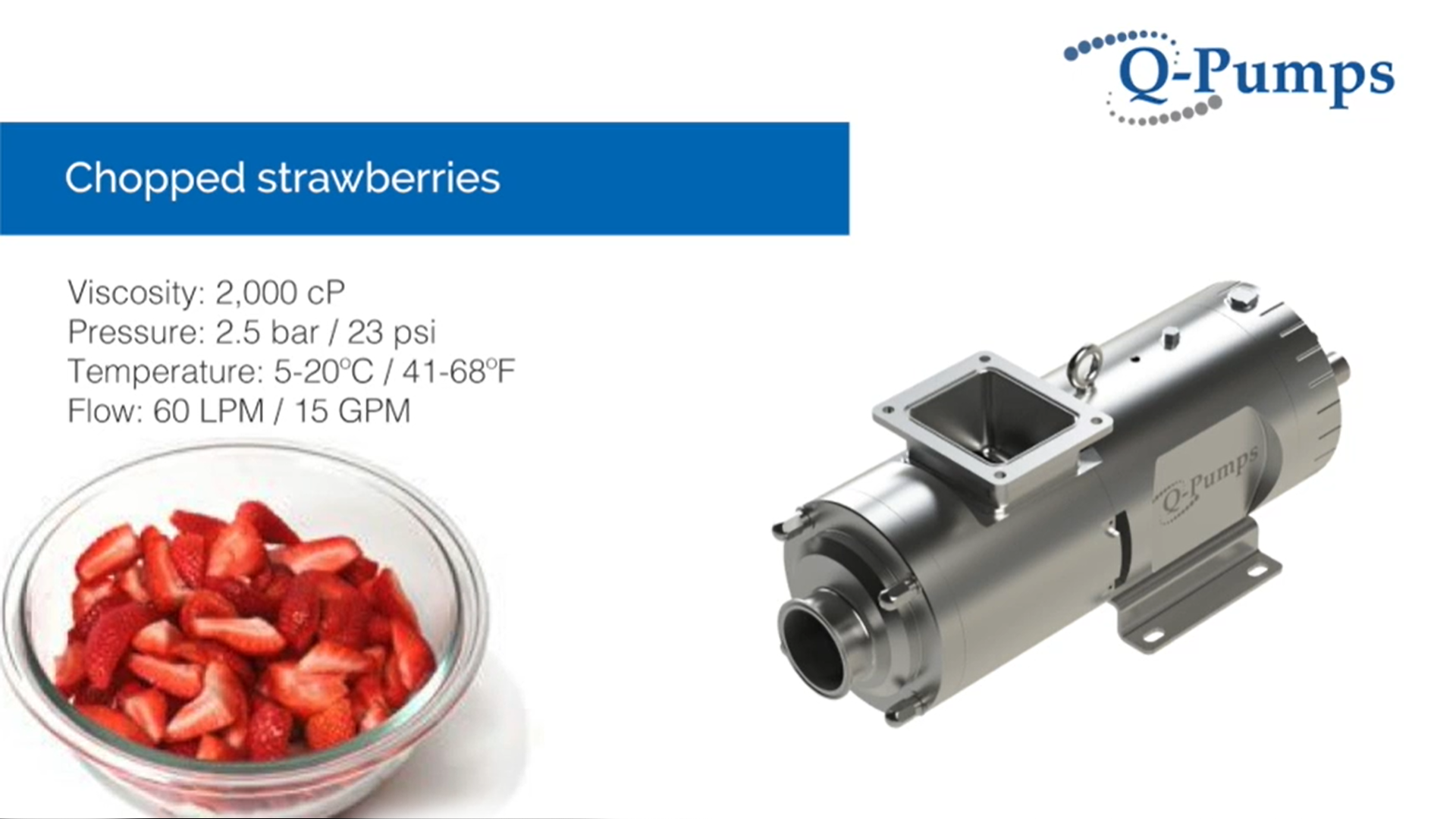 QTS Twin Screw Pump Rectangular Inlet Chopped Strawberries