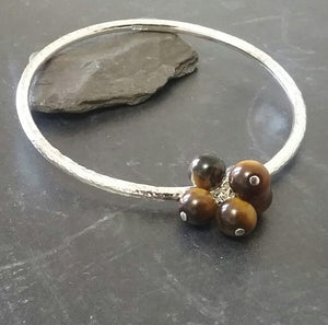 Tigers eye & sterling silver bangle