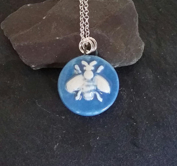 Blue Ceramic Bee Pendant - PurplePixiebyDenise