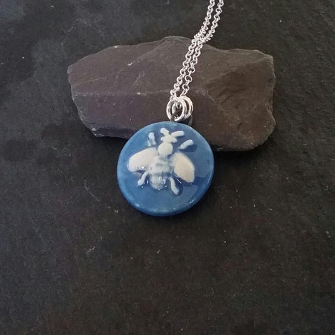 Blue Ceramic Bee Pendant