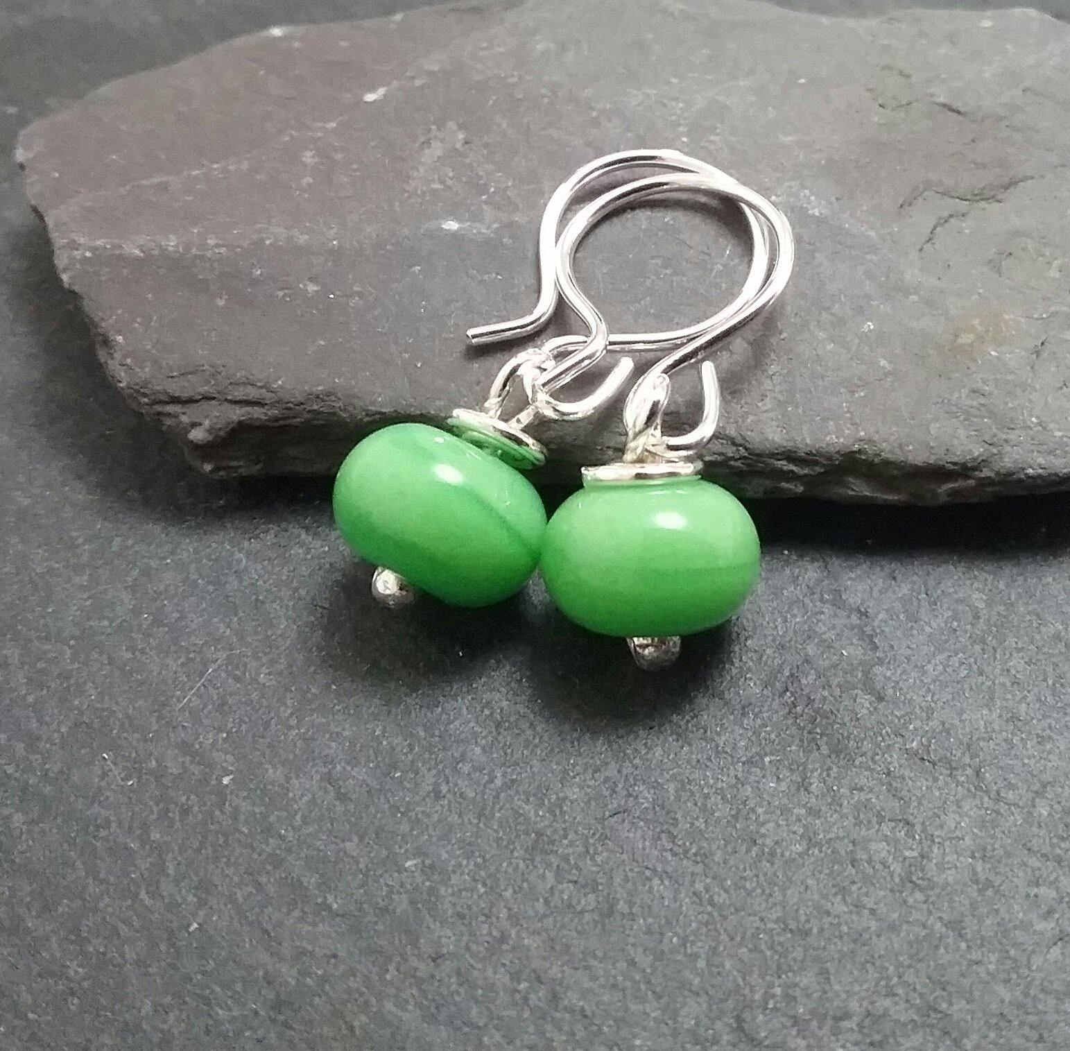 Apple Green Lampwork Drop Earrings - PurplePixiebyDenise
