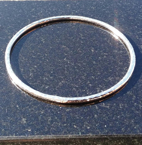 Slim Hammered Sterling Silver Bangle
