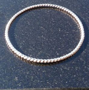 Slim Sterling Silver Twisted Bangle