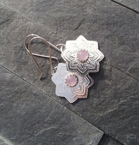 Rose Quartz and Sterling Silver Mandala Earrings