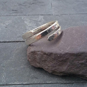 Hammered Spiral Thumb Ring - made to order