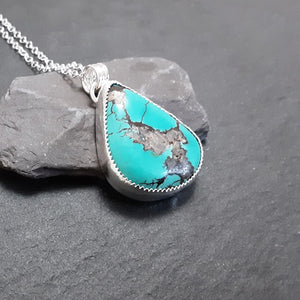 Royston turquoise and sterling silver pendant.