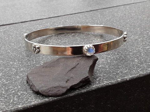 Rainbow Moonstone Bangle