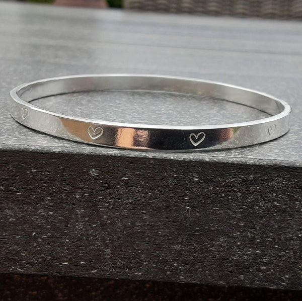 Sterling Silver Heart Pattern Bangle available in Small and Mediun - PurplePixiebyDenise