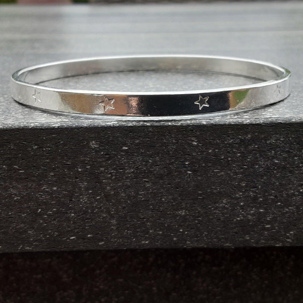 Sterling Silver Star Pattern Bangle
