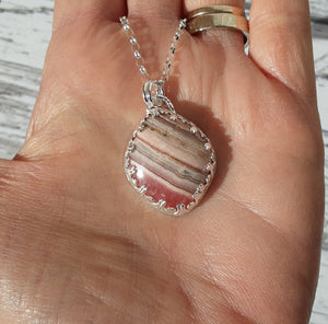 Sterling silver and Rhodochrosite pendant
