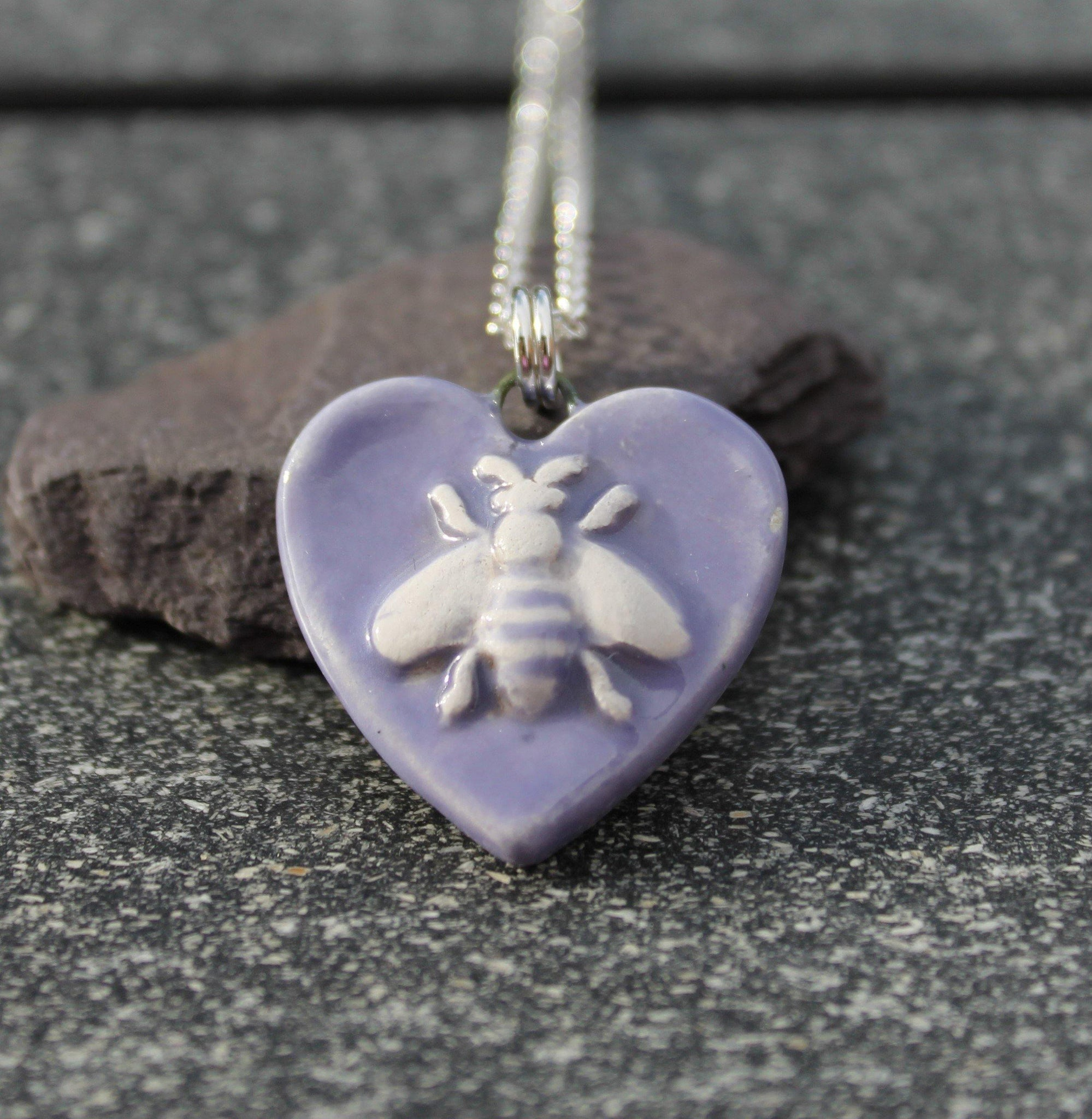 Lilac Ceramic Bee Pendant
