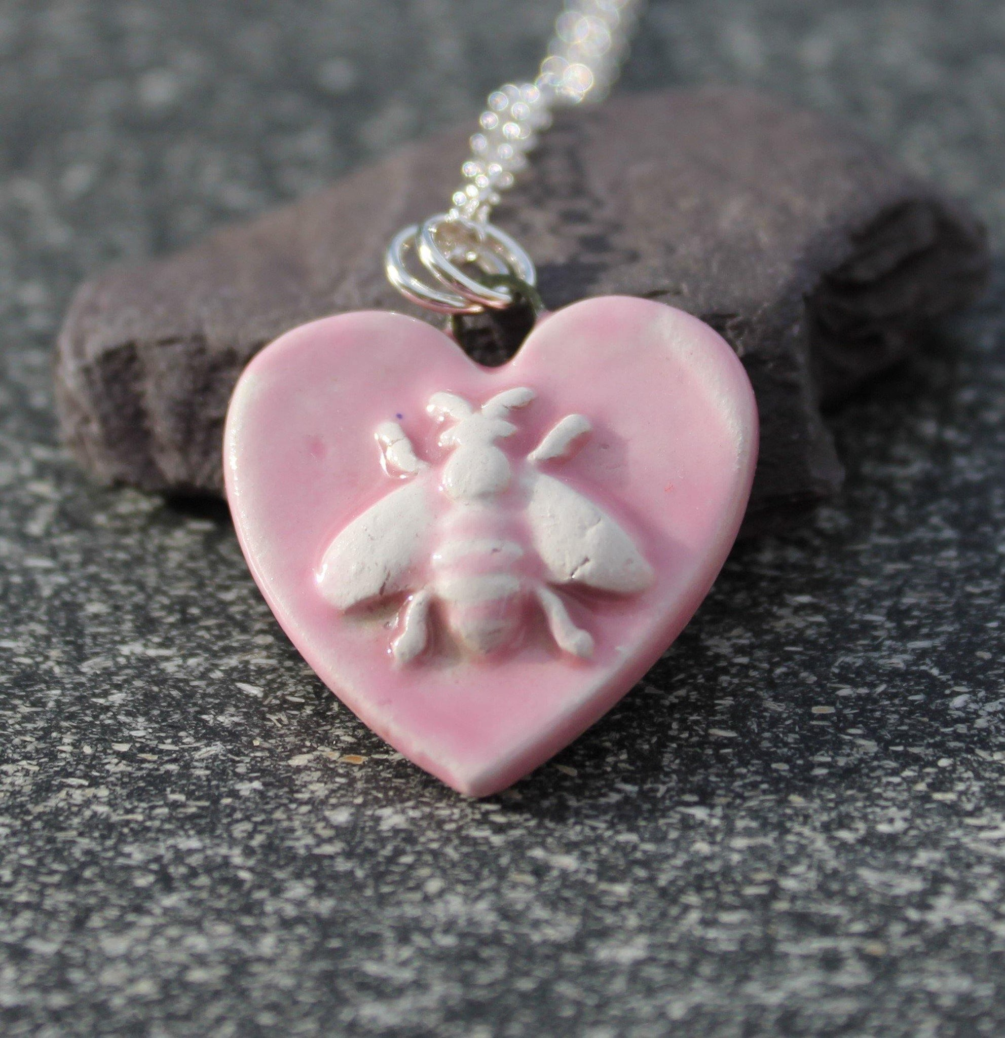 Pink Ceramic Bee Pendant