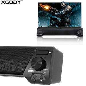 XGODY LP09 Soundbar for TV PC Phone TF Bluetooth Speaker 10W Home Theater Audio Receiver Music Center Sound Bar with FM Radio