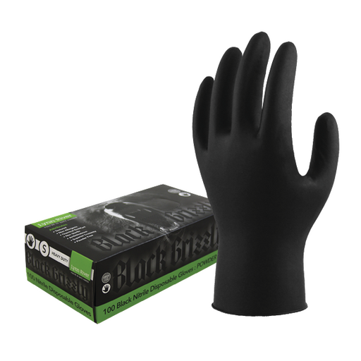 HEAVY DUTY BLACK NITRILE GLOVES
