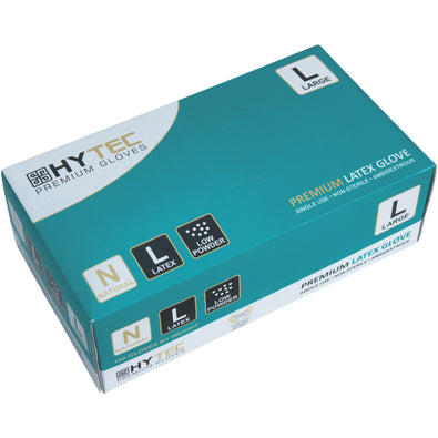 HYTEC NATURAL LATEX DISPOSABLE GLOVES - LOW POWDER