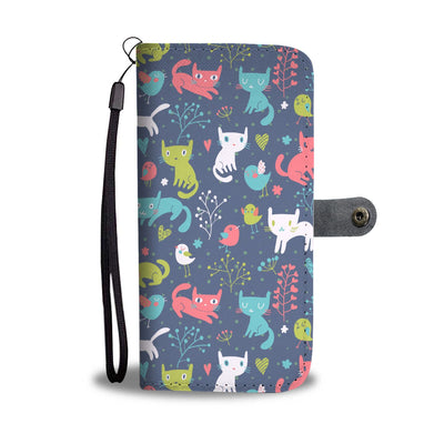Cats Playing With Birds In The Woods iPhone/Android Wallet Case