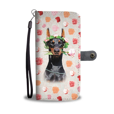 Funny Doberman Flower IPhone/Android Wallet Case
