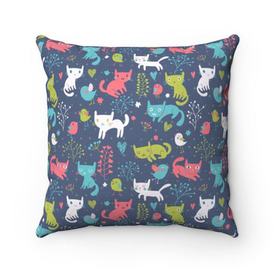 Cats Playing With Birds In The Woods Pillow Cover