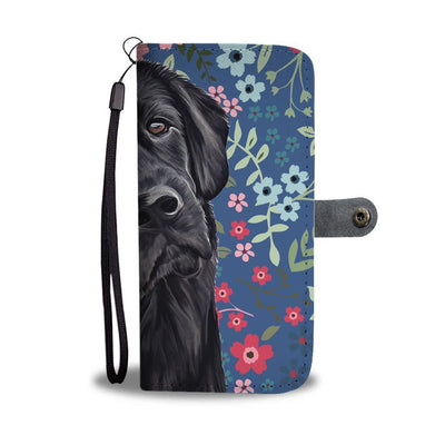 Flower And Black Labrador IPhone/Android Wallet Case