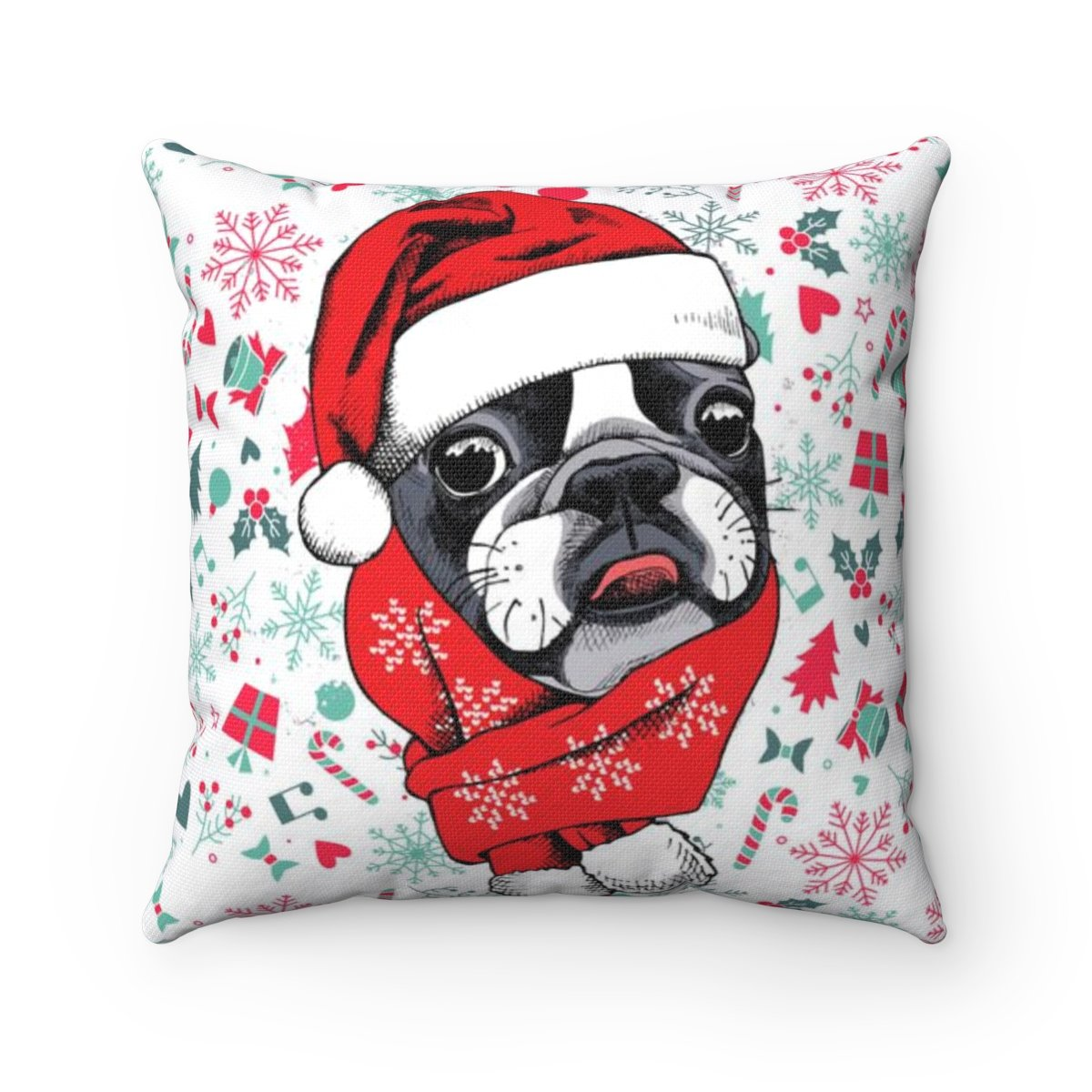 Christmas Bulldog Pillow Cover Pet Love Moments
