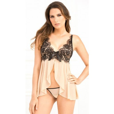 Attractive lace embroidery cardigan front chest suspenders short Lingerie