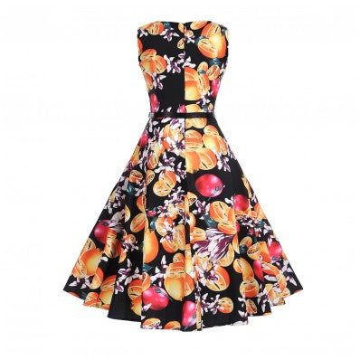 Bright printing waist was thin big swing plus size dress