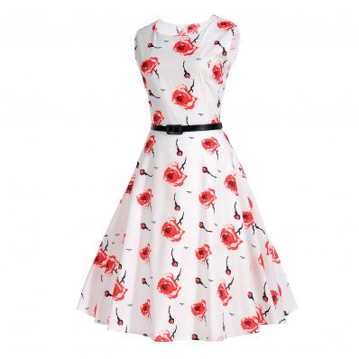 Fashion sleeveless print long cute white plus size dresses