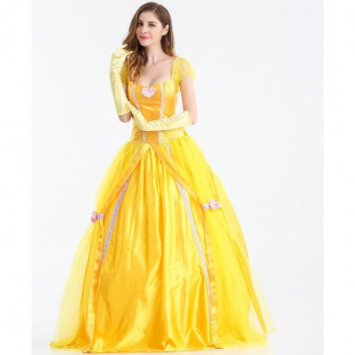 Halloween Fairy tale yellow princess plus size long dress